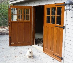 Carriage door by Evergreen w/tenon and shear panel