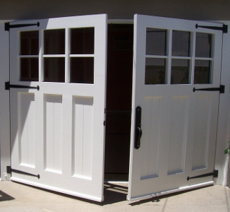 Carriage doors turn garage into play room.