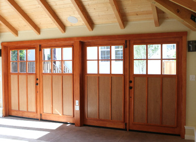 Out swing carriage doors allow garages to be turned into living spaces