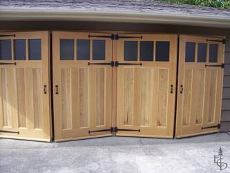 Carriage doors swing out to leave interior space clear and inviting.