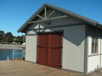 OL2P - Olympic style with 2 panels on a public boat house in the Boston area.